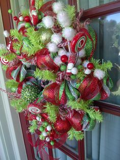 Deco Mesh Red and Lime Green Christmas Wreath