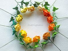 Yellow hues 12 Origami Fine Roses / Welcome Gift / by Inorigami