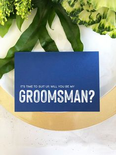 Navy Asking Groomsman Proposal Wedding Card, Suit Up Invite, Asking Groomsman, Gift Best Man Invitation, Modern Cards From Bride and Groom Marriage Proposal Quotes, Marriage Messages, Proposal Photos, Asking Groomsmen, Groomsmen Gift Box, Be My Groomsman, Bridesman Proposal, Groomsmen Proposal, Male Bridesmaid
