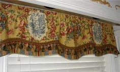 french country window treatments | Custom Valance Window Treatment Waverly French Country Fabric Red Gold ...