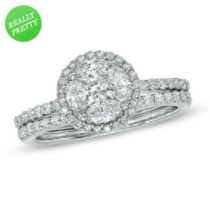 I've tagged a product on Zales: 1-1/4 CT. T.W. Composite Diamond Bridal Set in 14K White Gold
