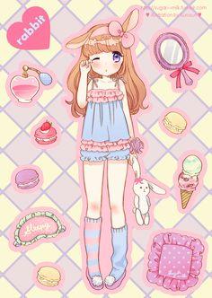 Kawaii Bedtime Bunny Anime Girl.