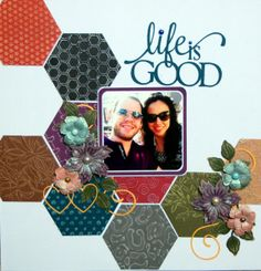 Incredible #coredinations layout from Debbie Standard!   #layouts #scrapbooking #hexagons