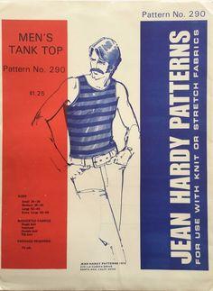 Vintage Jean Hardy Sewing Pattern 290 Men's Tank Top Uncut 1972 Size S  M L XL #JeanHardyPatterns #TankTop