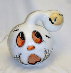 Ghost Light-Up Gourd  Hand Painted by FromGramsHouse on Etsy