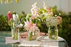 Centerpiece #2 Inspiration- 3 mason Jars filled with Stock, Queen Ann, and Button Mums