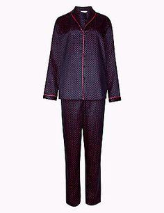 Satin-Schlafanzug-Set mit langen Ärmeln und Punktmuster