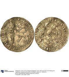 Aquitanien/Guyenne: Herzogtum Münze Edward III. (1327-1377), König von England, 1327-1365 und 1372-1377 Herzog von Aquitanien, Herzogtum, Münzherr 1357 Land: Frankreich (Land) Nominal: Leopard d'or, Material: Gold, Druckverfahren: geprägt Gewicht: 3,59 g Durchmesser: 30 mm