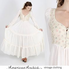 Vintage 70s Gunne Sax Wedding Maxi Nude Floral by americanarchive, $112.00