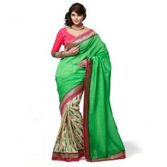 Green Colour Designer Banarasi Jacquard With Manipuri Silk Saree