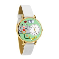 Whimsical Nurse Green Watch in Gold (Gold) Women's