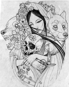 Wolf girl by cathy Dream Tattoos, Wolf Tattoos, Girl Tattoos, Wolf Headdress, Headdress Tattoo, Tattoo Sketches, Tattoo Drawings, Art Drawings, Mandala Art