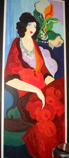artist tarkay itzchak   red dress