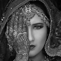 Indian Bridal Jewelry Adornment and Henna Tattoo. #indian #bridal #bride #jewelry #jewellery #adornment #henna #tattoo #tattooed #tattooedwoman #tattooedgirls #hennatattoo #beauty #woman #head #headdress #face #eyes #lips
