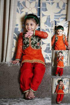 Rusty orange lace and festive green brocade punjabi suit with maroon patiala salwar