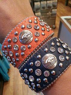 Denver Broncos Leather Bling Cuff Bracelet