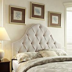 Round Top Tufted Headboard - The rounded top of the Round Top Tufted Headboard - Taupe creates an elegant style for your bedroom. Upholstered in a soft poly material with button-tufting,...