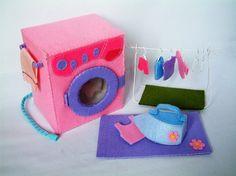 felt washing machine, iron and clothesline ~ too cute!