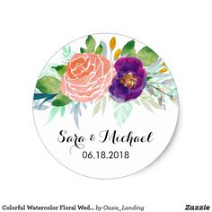 Colorful Watercolor Floral Wedding Classic Round Sticker