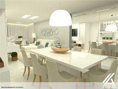 Estudo de sala de estar e jantar clean para um apartamento localizado no Residencial Jardins em vitória-ES. Projeto by IG Arquitetura e Interiores. Mais fotos no Instagram e facebook