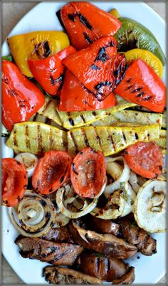 Balsamic Grilled Vegetables with Bell Pepper, Zucchini, Yellow Squash, Portobello Mushrooms, Sweet Onion, Roma Tomatoes, Extra-Virgin Olive Oil, Balsamic Vinegar, Minced Garlic, Basil, Dried Oregano, Salt, Pepper.