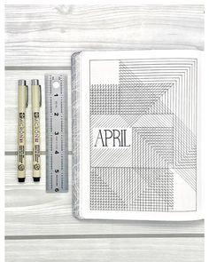 Bullet journal monthly cover page, April cover page, lineart. | @lifearrangements