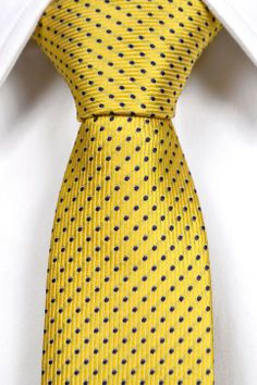 Slim necktie from Tieroom, Notch STURE, yellow with blue dots