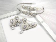 Wedding crystal jewelry set for bride. Ivory soutache