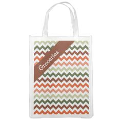 Tomato Tones Chevron Market Totes .............This design features a Tomato Tones Chevron pattern. The TEXT on both sides can be customized with your own. Check out my store for more colors.