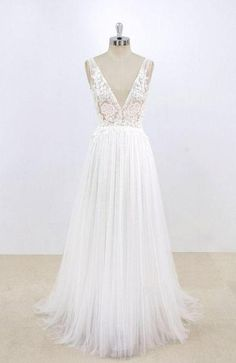Discount Cute Sexy Wedding Dresses Simple Sexy Deep Low V Neck Small A-line Cheap Dresses For Wedding, Plus Wedding Dresses, Western Wedding Dresses, V Neck Wedding Dress, Perfect Wedding Dress, Cheap Wedding Dress, Bridal Dresses, Wedding Gowns, Tulle Wedding, Wedding Venues