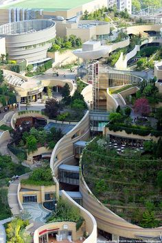 Landscape architecture & urban design in Namba Parks Osaka, Japan is part of - Visit the post for Modern Landscape Design, Landscape Architecture Design, Modern Landscaping, Urban Landscape, Landscaping Ideas, Urban Park, Urban City, Plans Architecture, Amazing Architecture
