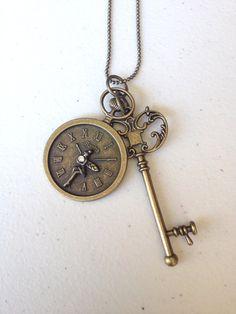 Antique bronze fairy roman clock with vintage key necklace
