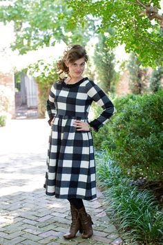 The Gingham Sweater Dress: an autumn wardrobe essential! Shop modest fashion and bridesmaid styles at www.daintyjewells.com