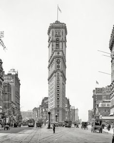 """Manhattan circa 1908. """"New York Times building."""" Now playing at the Astor: """"Paid in Full."""" 8x10 glass negative, Detroit Publishing Co"""