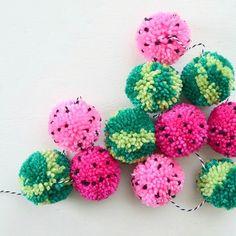 @apricotpolkadot watermelon pom poms!! Adorable!!!!! by creatorslane