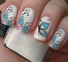 nail designs for summer french tip nail designs for short nails nail stickers walmart nail art stickers at home essie nail stickers Nail Art Designs, Butterfly Nail Designs, Butterfly Nail Art, Short Nail Designs, Nails Design, Floral Designs, Butterfly Kisses, Cute Nails, Pretty Nails