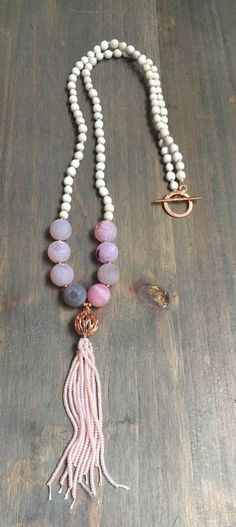 Beaded Necklace with toggle clasp and (beaded) tassel with druzy beads and #JewelryDIYIdeas