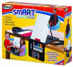RoseArt smART Tabletop Easel with Markers and Pencils Included, Packaging May Vary by Rose Art Industries Inc.. $21.99. Very compact. Promotes creativity and imagination. Portable with convenient shoulder straps. Lightweight for easy transport. Mini markers, mini colored pencils and dry erase markers included. From the Manufacturer                The smART Tabletop Easel is compact, portable, and lightweight.  Your little artist can easily take it on the go to creat masterpieces...