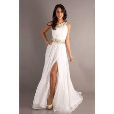 Dress: prom white gold greek goddess one shoulder white long prom gold... ❤…