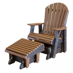 Poly Adirondack Glider Chair Front View with Glider Ottoman