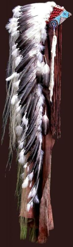 """This double trailer headdress is in a private collection in Wyoming CHIEF'S CROWN. """"Many deeds have I done and for each I have earned a feather from the eagle, Great Spirit. I have hunted and counted coup on many enemies and have proved myself to be worthy of this crown. My teepee, my home and the circle of life are represented here along with the blessings of the elk and deer. The ermine of richness hangs from each side and I have done well. I am Chief and I am proud."""""""