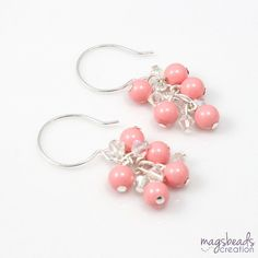Pink Coral Bride Earrings Cascade Cluster by magsbeadscreation