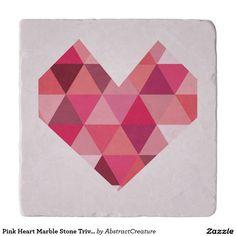 21.95 Pink Heart Marble Stone Trivet