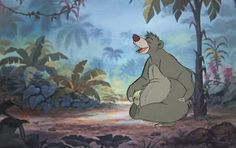 "Original hand painted production animation cel of Baloo The Bear from ""The Jungle Book,"" 1967, Walt Disney Studios; Production numbers lower right; Set on a lithographic background; Size - Baloo: 6 1/4"" x 4 1/4"", Cel 12 1/2 x 16""; Image 10 x 15 3/4""; Unframed."