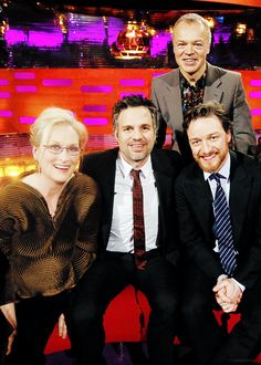 Graham Norton with guests Meryl Streep, Mark Ruffalo, James McAvoy during filming of the Graham Norton Show at the London Studios, in central London.