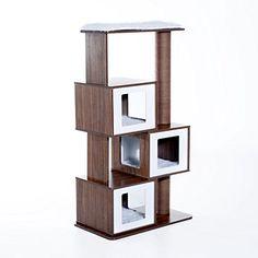 "Pawhut 54"" Mid Century Modern Modular Cat Tree - Coffee/W..."