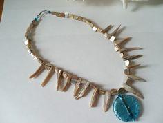 Shell and glass necklace Glass Necklace, Turquoise Bracelet, Shells, Jewellery, Bracelets, Fashion, Seashells, Bangles, Jewelery