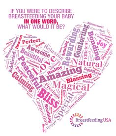"""If you were to describe breastfeeding your baby in one word, what would it be?"""" A heart shape is formed by the words Precious, worthwhile, awesome, Beautiful, peaceful, heaven, purpose, caming, acrobatics, love, convenient, healthy, amazing, relaxing, connection, bliss, soothing, magical, life, yeowch, special, blessing, best, gymnastics, and more."""
