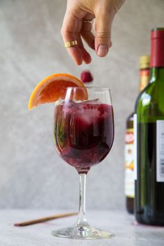 Turn any glass of wine into sangria in 4 steps. Recipe makes one drink for one lazy girl, but easily doubled, tripled, pitcher-ed. Enjoy! @DessertForTwo