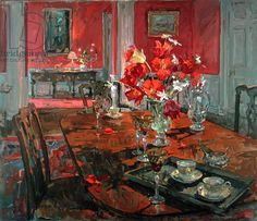 Susan Ryder. Tulips in a Red Dining Room (oil on canvas)
